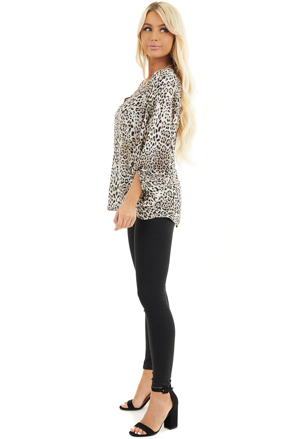 Ivory and Latte Leopard Print Blouse with Bubble Sleeves side full body