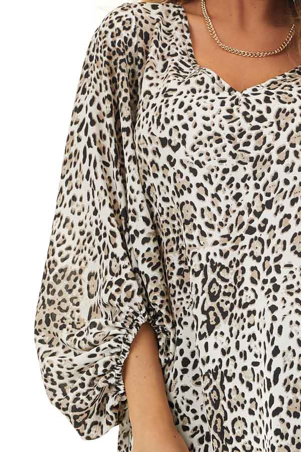 Ivory and Latte Leopard Print Blouse with Bubble Sleeves detail