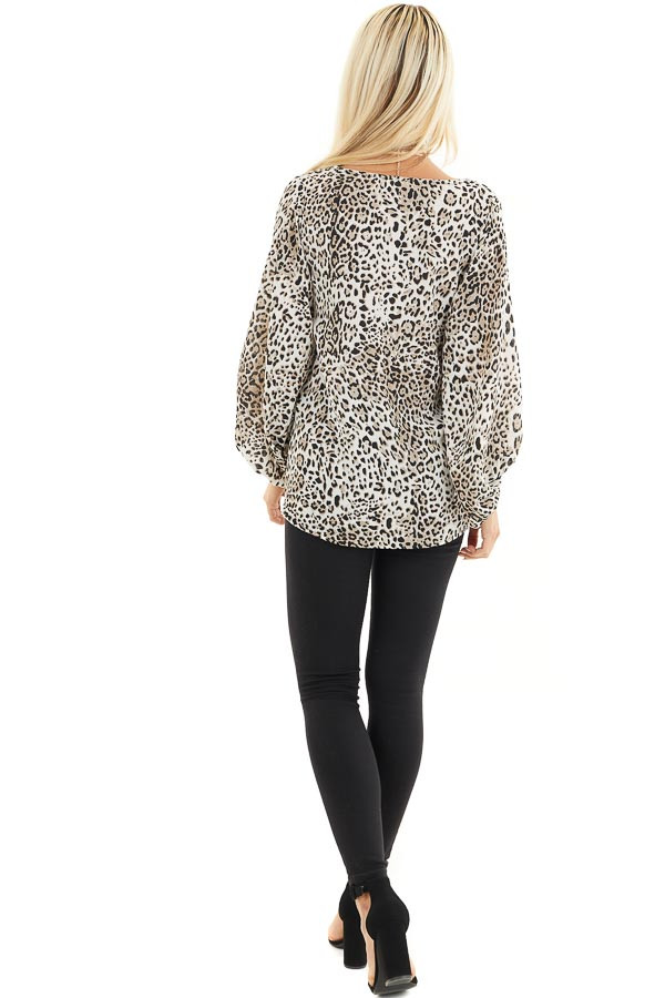 Ivory and Latte Leopard Print Blouse with Bubble Sleeves back full body