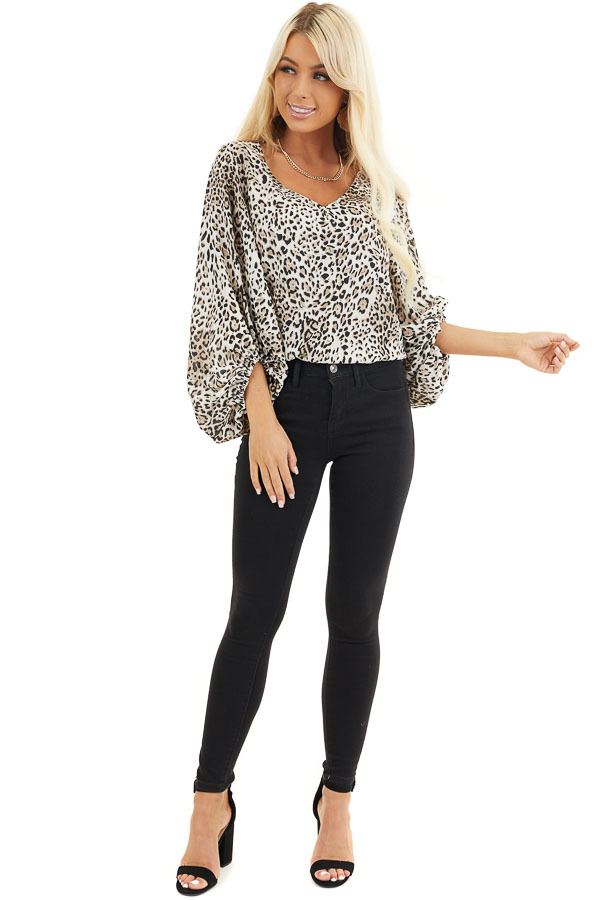 Ivory and Latte Leopard Print Blouse with Bubble Sleeves front full body