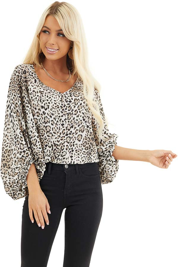 Ivory and Latte Leopard Print Blouse with Bubble Sleeves front close up