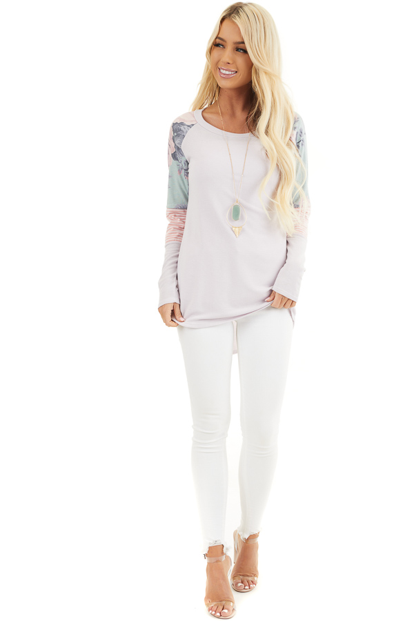 Light Lavender Knit Top with Contrast Long Sleeves front full body