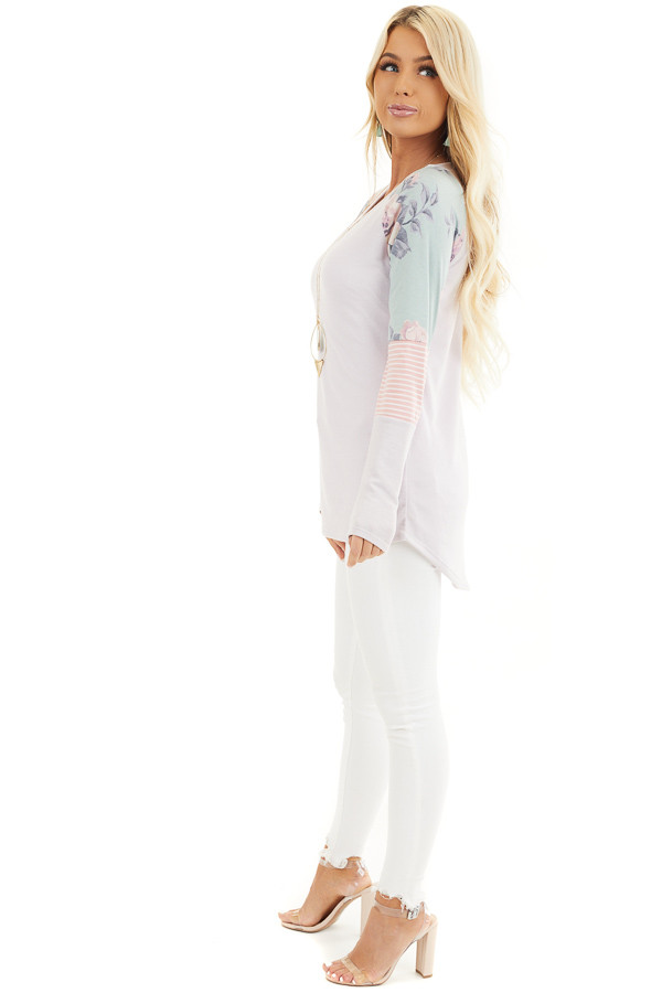 Light Lavender Knit Top with Contrast Long Sleeves side full body