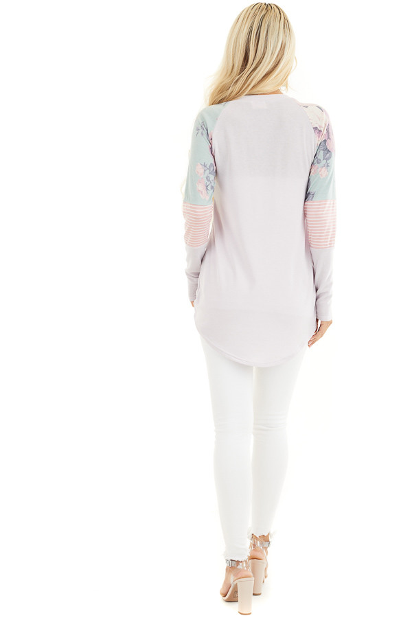 Light Lavender Knit Top with Contrast Long Sleeves back full body
