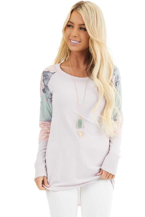 Light Lavender Knit Top with Contrast Long Sleeves front close up