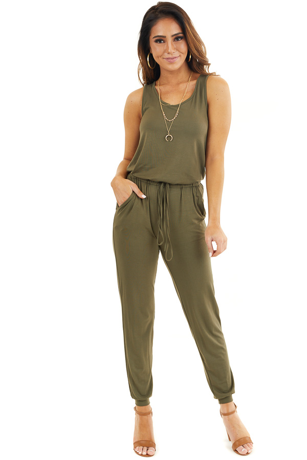 Olive Soft Knit Sleeveless Jumpsuit with Drawstring Waist front full body