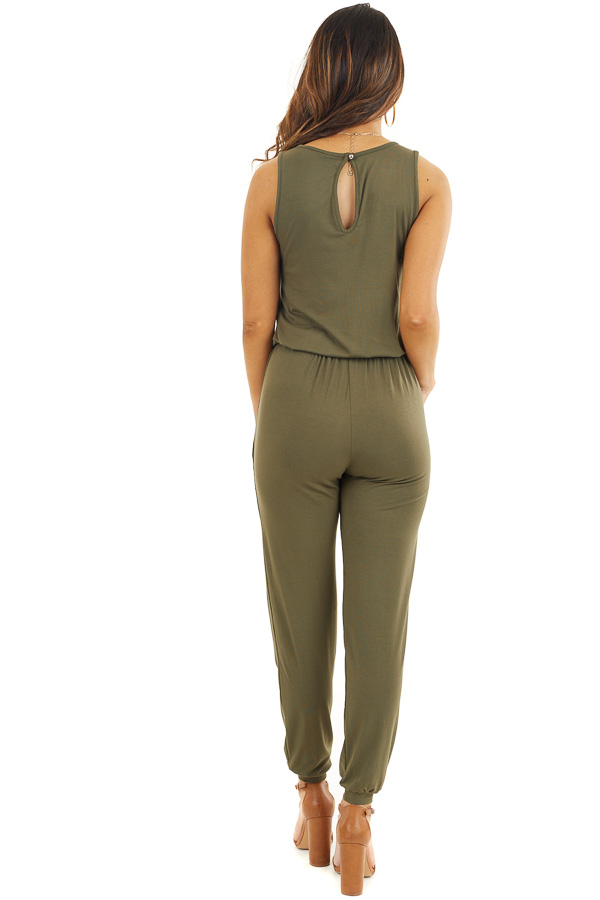 Olive Soft Knit Sleeveless Jumpsuit with Drawstring Waist back full body