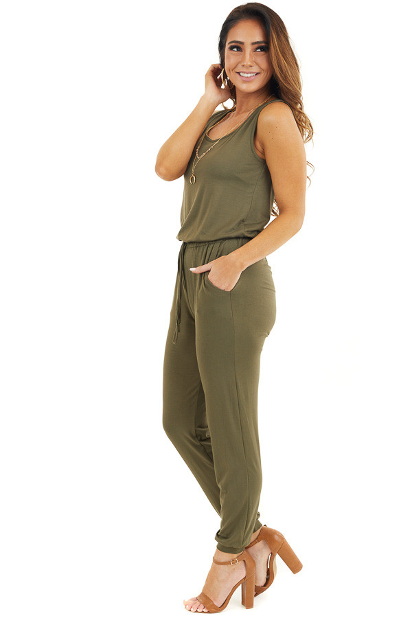 Olive Soft Knit Sleeveless Jumpsuit with Drawstring Waist side full body