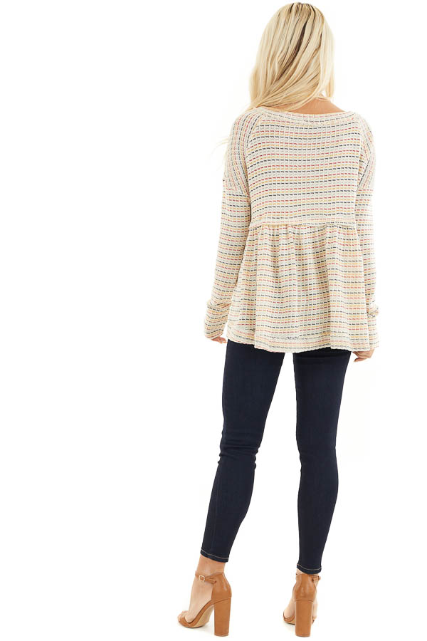 Multicolor Striped Babydoll Style Knit Top with Long Sleeves back full body
