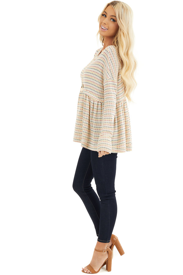 Multicolor Striped Babydoll Style Knit Top with Long Sleeves side full body
