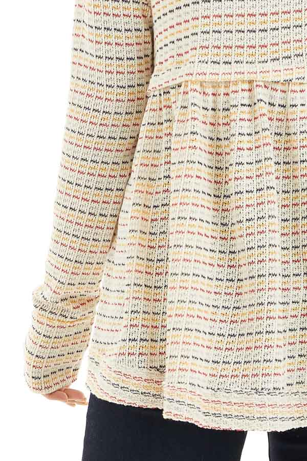 Multicolor Striped Babydoll Style Knit Top with Long Sleeves detail