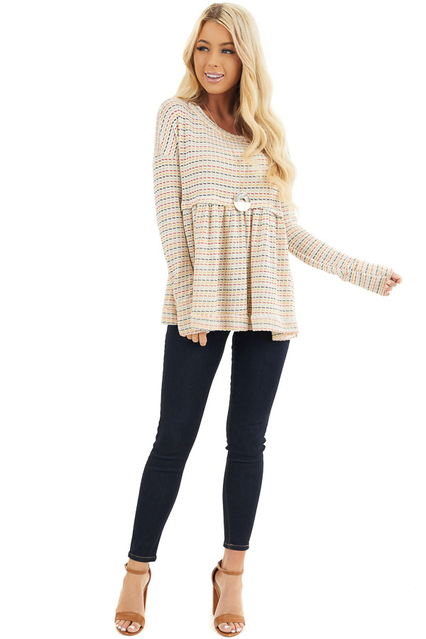 Multicolor Striped Babydoll Style Knit Top with Long Sleeves front full body
