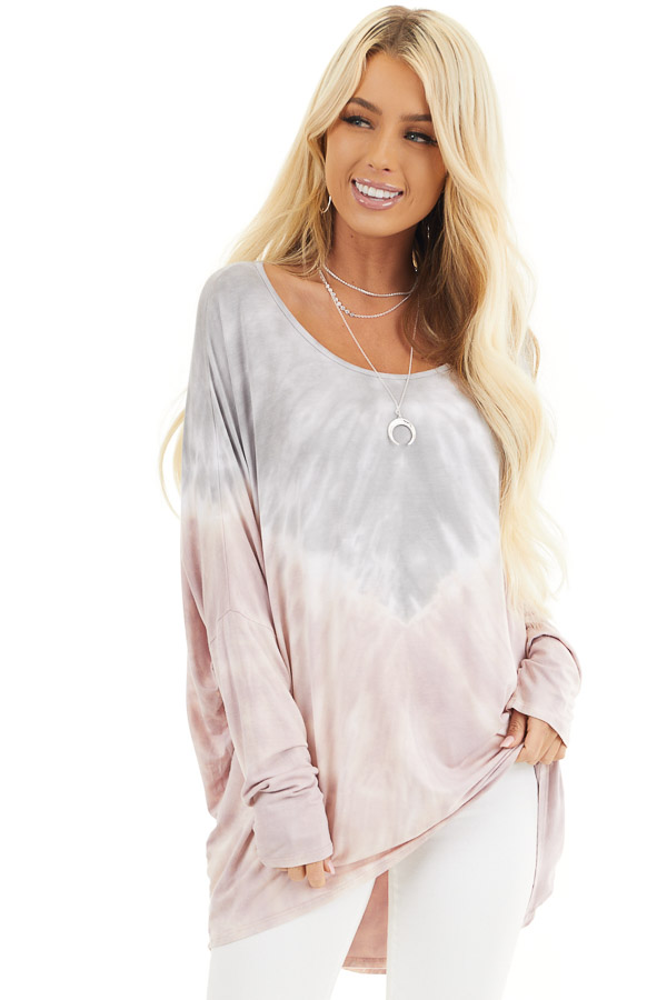 Dusty Blush and Grey Tie Dye Tunic Top with Long Sleeves front close up