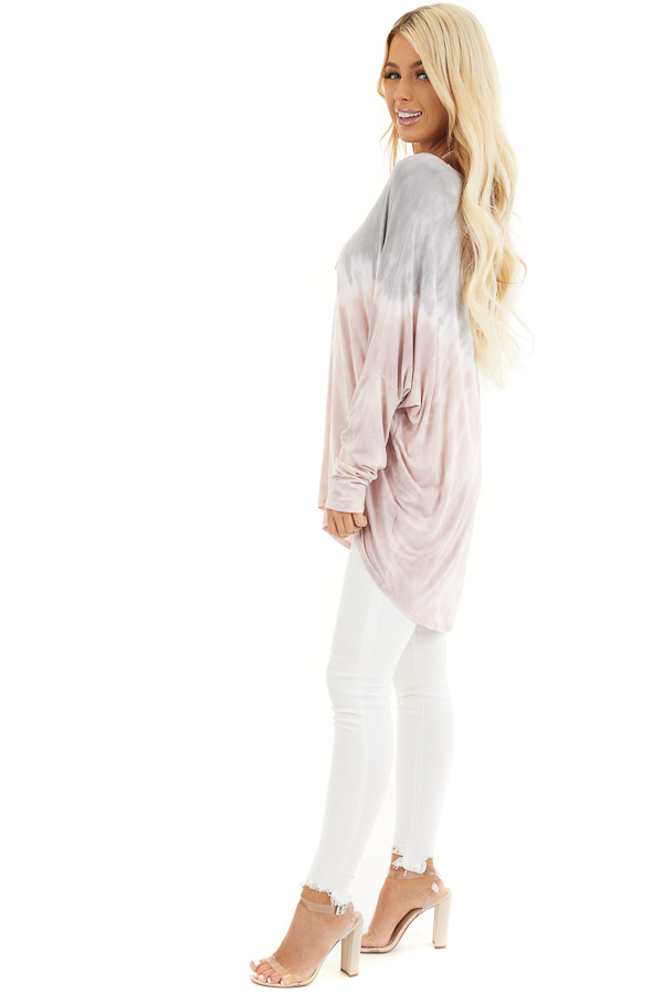 Dusty Blush and Grey Tie Dye Tunic Top with Long Sleeves side full body