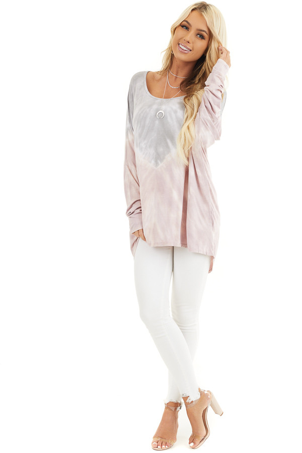 Dusty Blush and Grey Tie Dye Tunic Top with Long Sleeves front full body