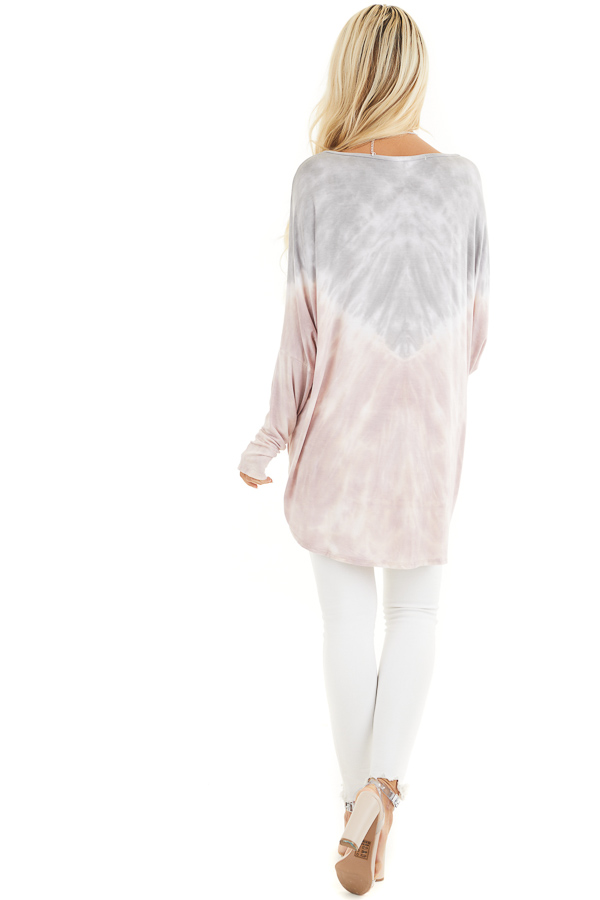 Dusty Blush and Grey Tie Dye Tunic Top with Long Sleeves back full body
