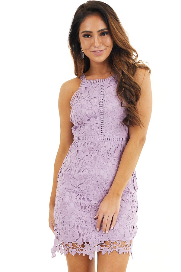 Lavender Sleeveless Crocheted Lace Mini Dress front close up