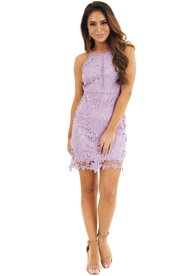 Lavender Sleeveless Crocheted Lace Mini Dress front full body
