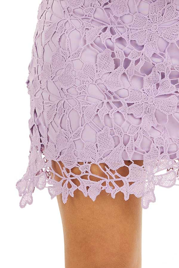 Lavender Sleeveless Crocheted Lace Mini Dress detail