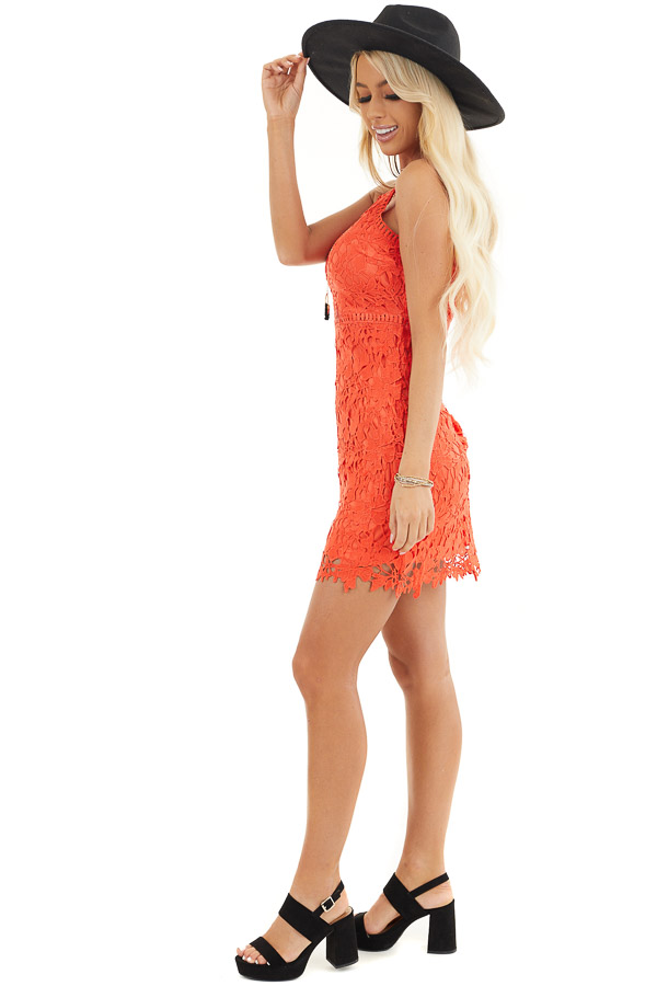 Tomato Red Sleeveless Crocheted Lace Mini Dress side full body