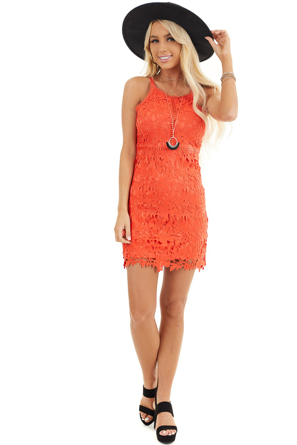 Tomato Red Sleeveless Crocheted Lace Mini Dress front full body