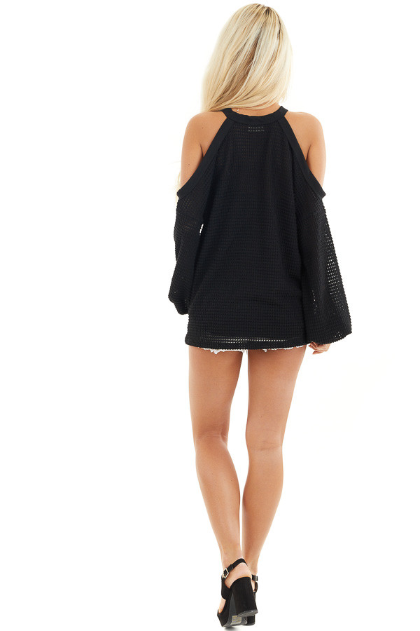 Black Textured Knit Top with Cold Shoulders and Long Sleeves back full body