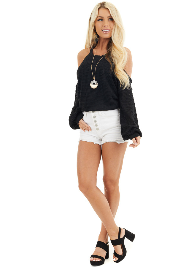 Black Textured Knit Top with Cold Shoulders and Long Sleeves front full body