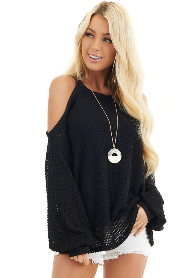 Black Textured Knit Top with Cold Shoulders and Long Sleeves front close up