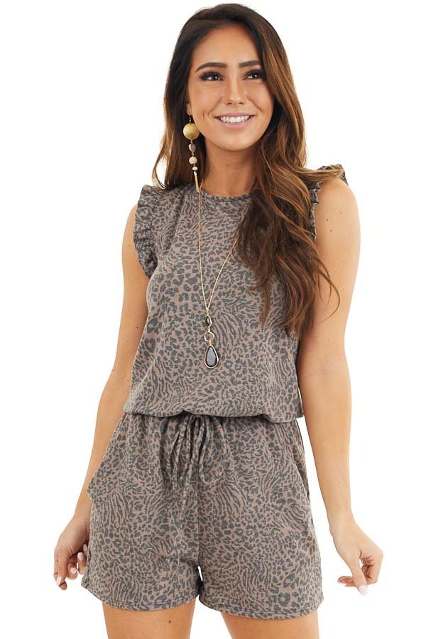 Mocha and Charcoal Leopard Romper with Ruffle Sleeves front close up
