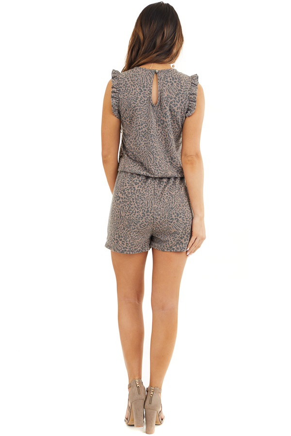 Mocha and Charcoal Leopard Romper with Ruffle Sleeves back full body