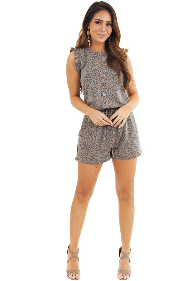 Mocha and Charcoal Leopard Romper with Ruffle Sleeves front full body