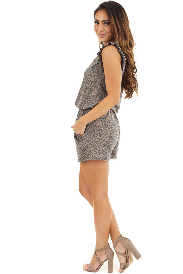 Mocha and Charcoal Leopard Romper with Ruffle Sleeves side full body