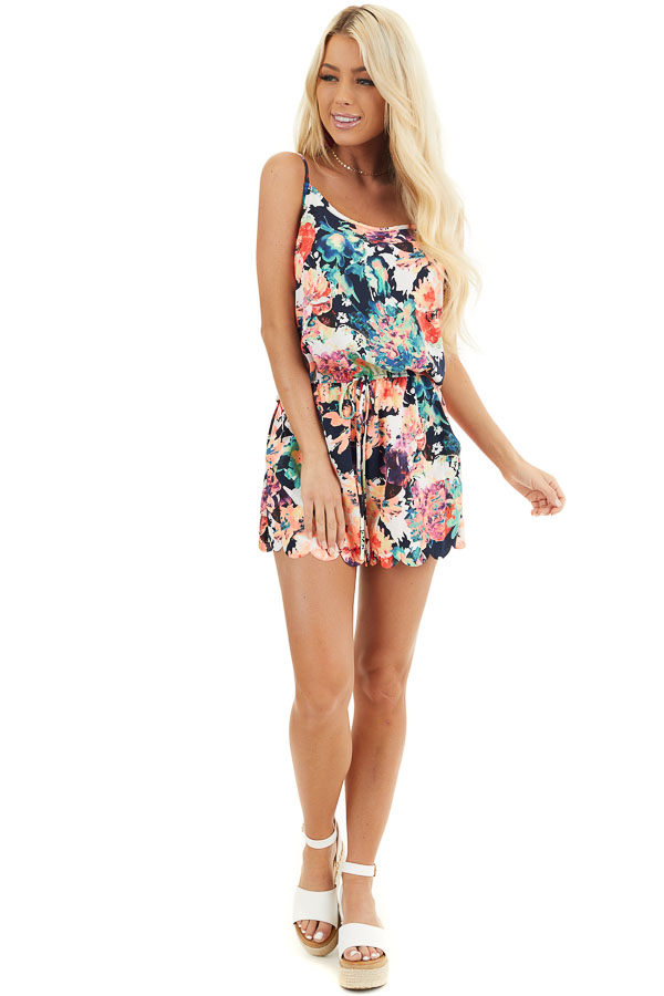 Multicolor Floral Print Spaghetti Strap Romper with Pockets front full body
