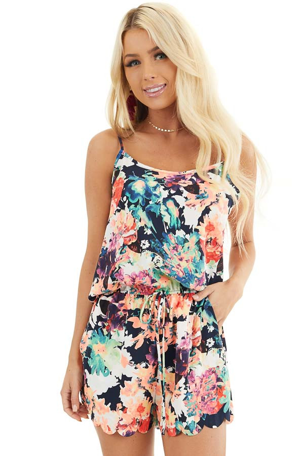 Multicolor Floral Print Spaghetti Strap Romper with Pockets front close up