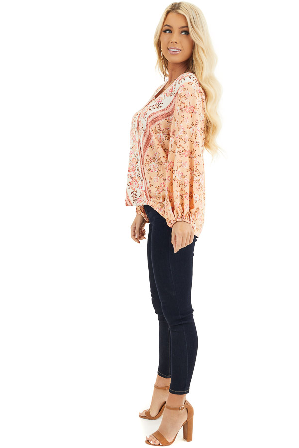 Peach and Ivory Floral Print Surplice Top with Long Sleeves side full body