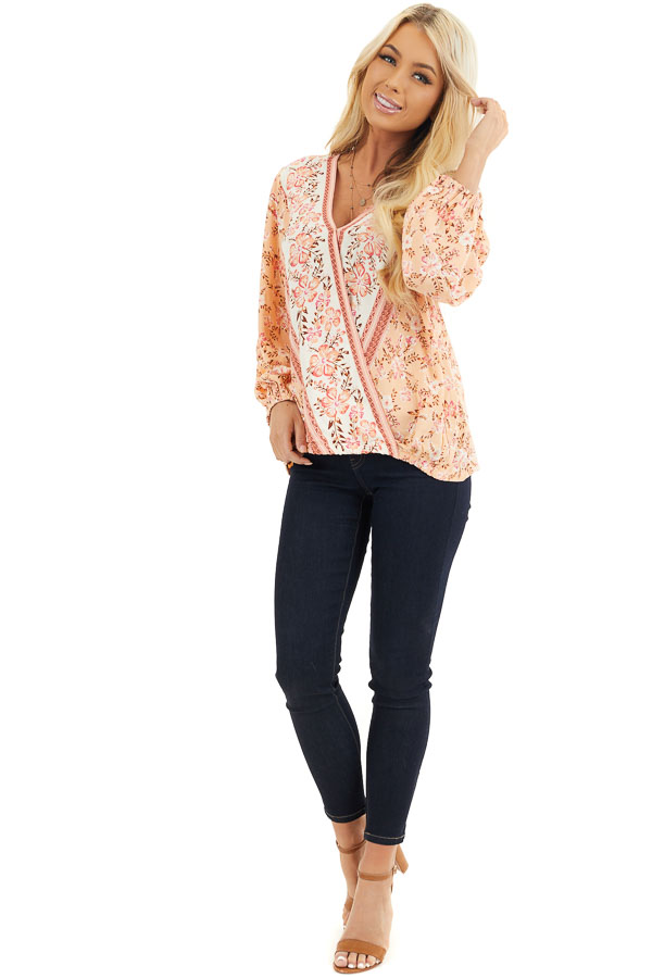 Peach and Ivory Floral Print Surplice Top with Long Sleeves front full body