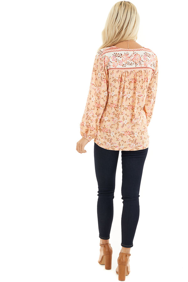 Peach and Ivory Floral Print Surplice Top with Long Sleeves back full body