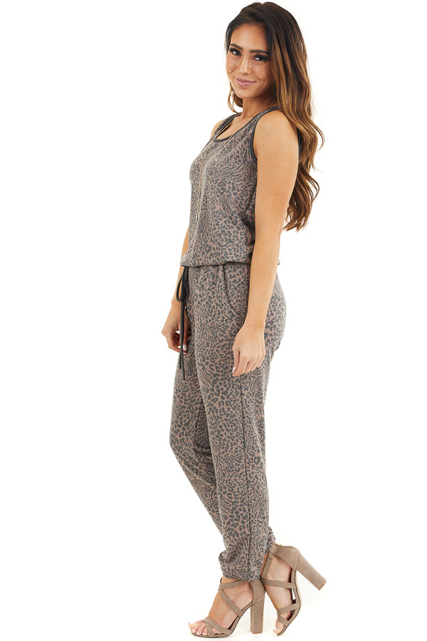Mocha and Charcoal Leopard Print Sleeveless Jumpsuit side full body