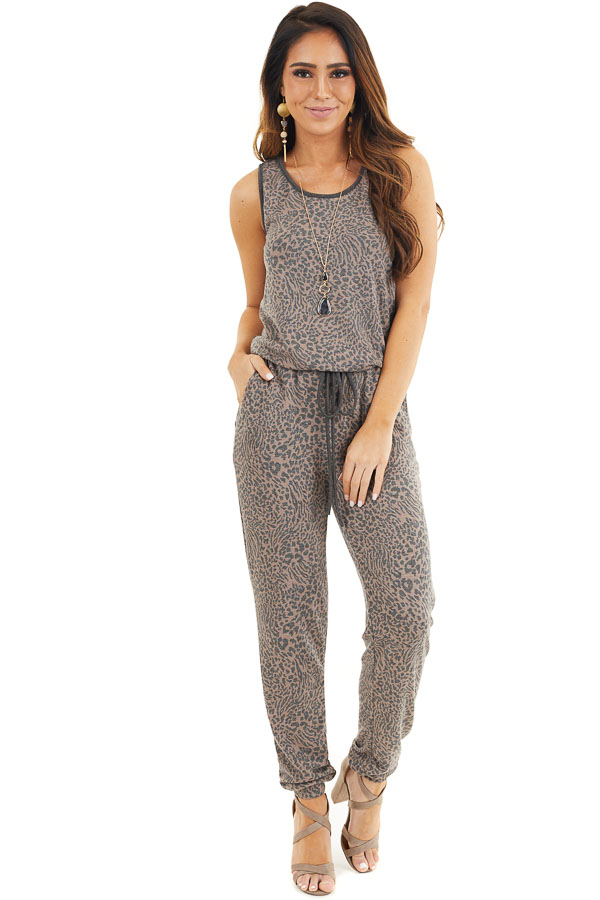 Mocha and Charcoal Leopard Print Sleeveless Jumpsuit front full body