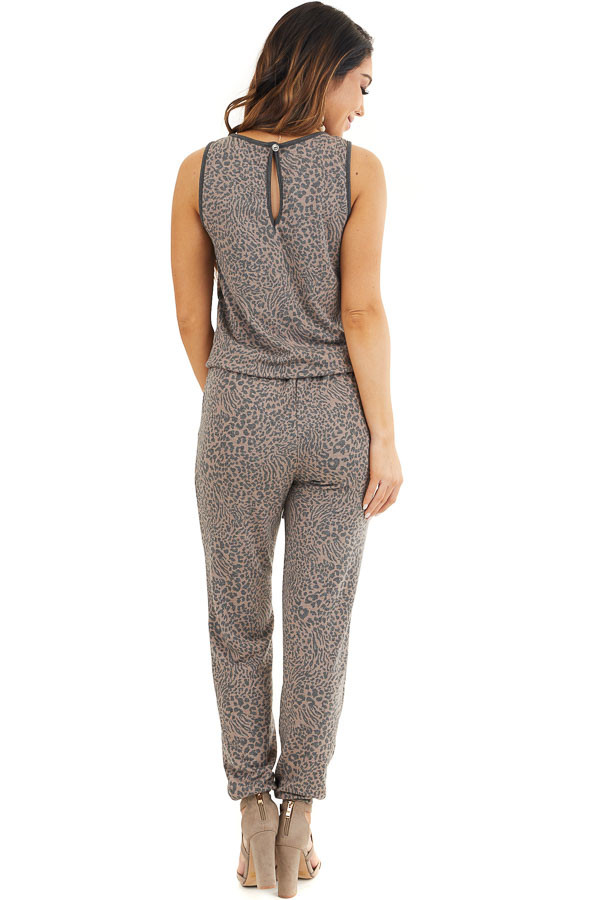 Mocha and Charcoal Leopard Print Sleeveless Jumpsuit back full body