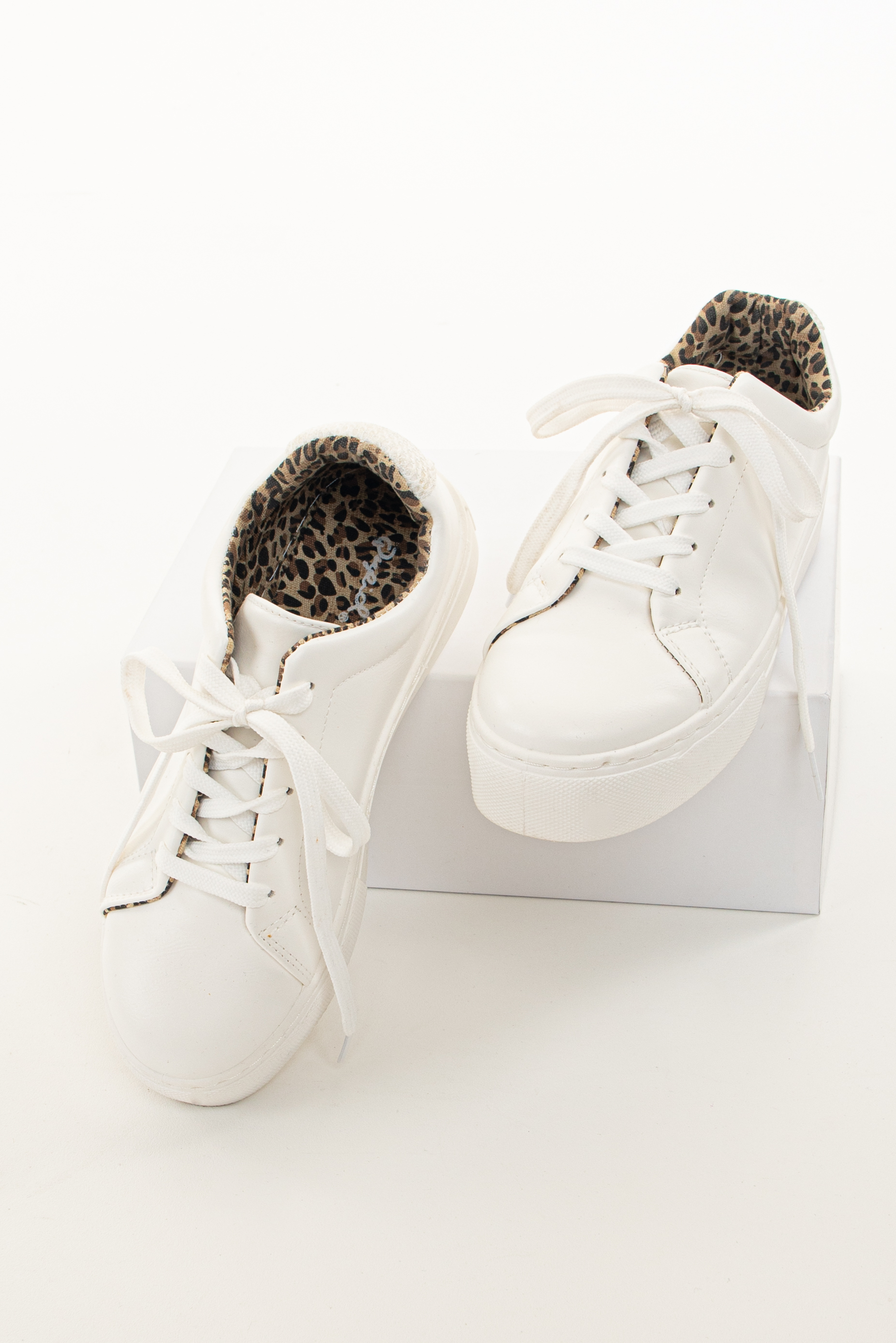 White Faux Leather Lace Up Sneaker with