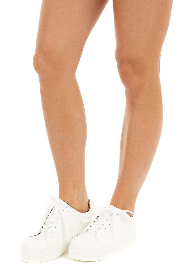 White Faux Leather Lace Up Sneaker with Leopard Print Inside