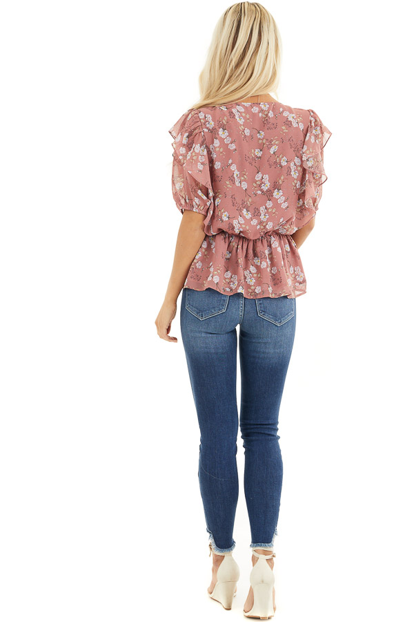 Dusty Rose Floral Print Peplum Blouse with Ruffle Details back full body