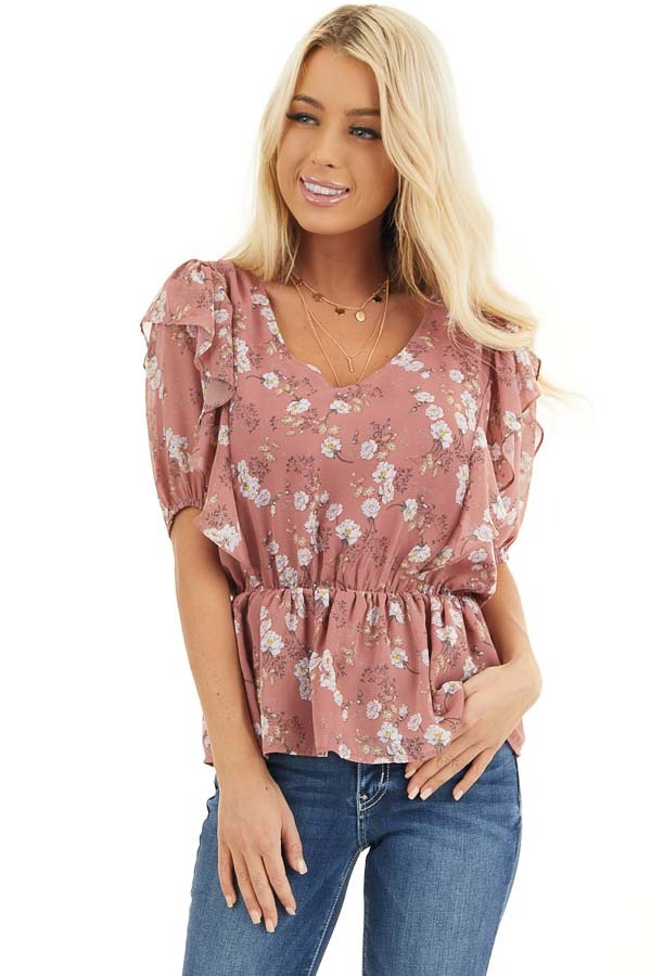 Dusty Rose Floral Print Peplum Blouse with Ruffle Details front close up