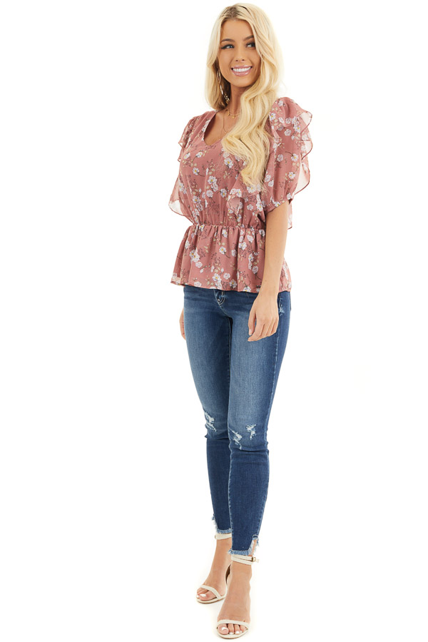 Dusty Rose Floral Print Peplum Blouse with Ruffle Details front full body