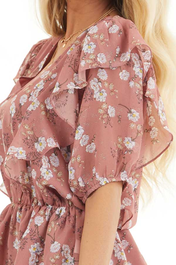 Dusty Rose Floral Print Peplum Blouse with Ruffle Details detail