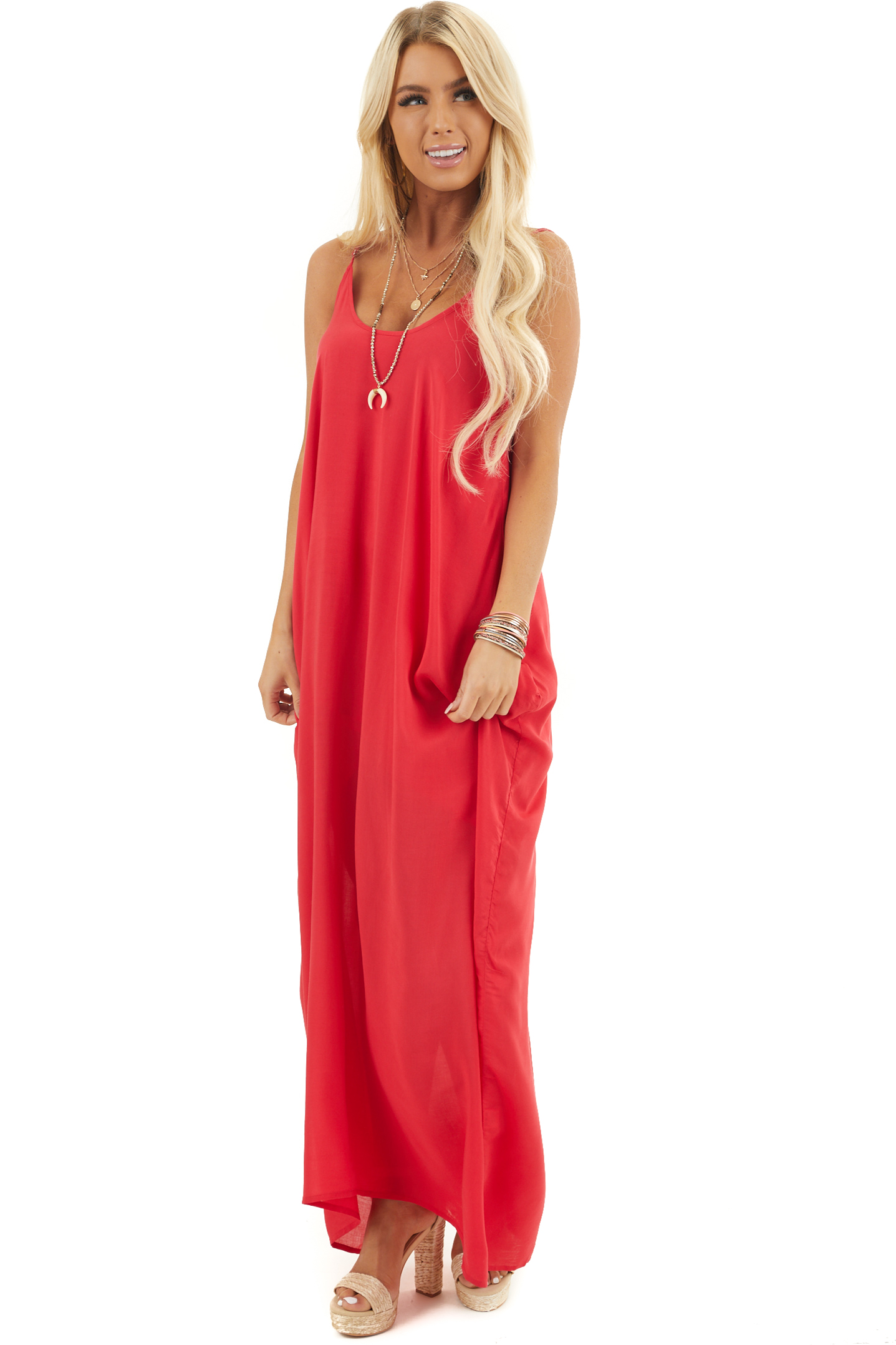 Ruby Red Sleeveless Maxi Dress with Scoop Neckline