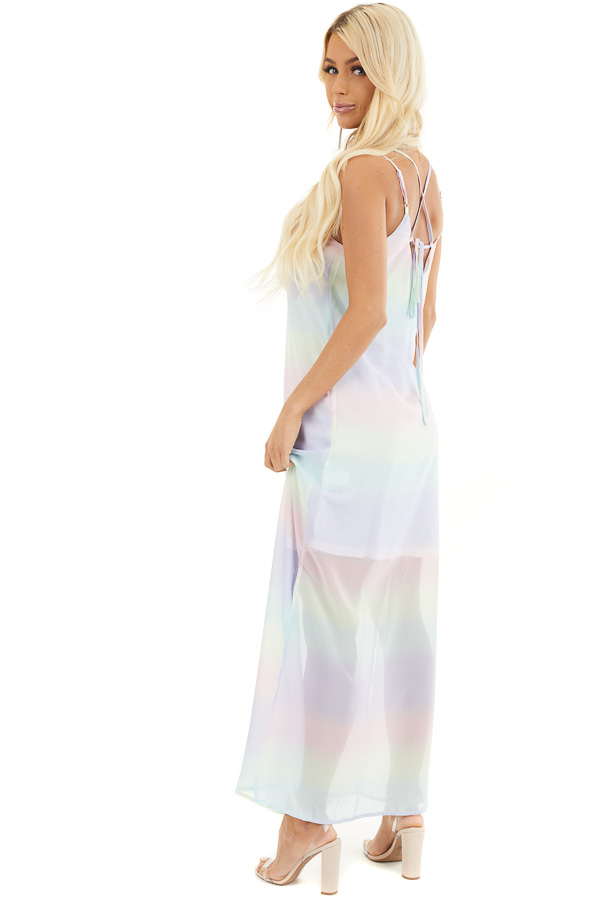 Multicolor Ombre Striped Sleeveless Maxi Dress side full body