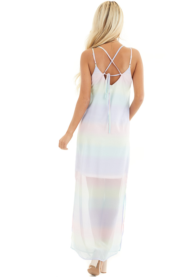 Multicolor Ombre Striped Sleeveless Maxi Dress back full body