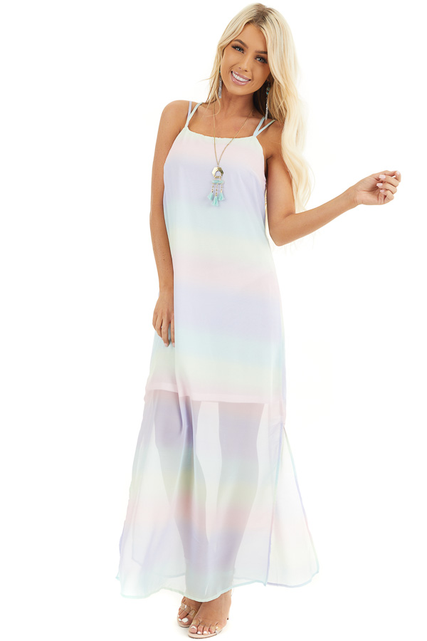 Multicolor Ombre Striped Sleeveless Maxi Dress front full body